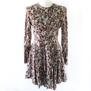 H&M ABSTRACT SPLATTER PRINT LONGSEEVE SKATER DRESS